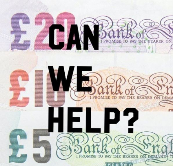 Image of bank notes with the text Can we help?