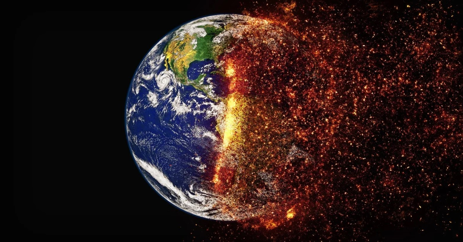The earth burning due to climate change