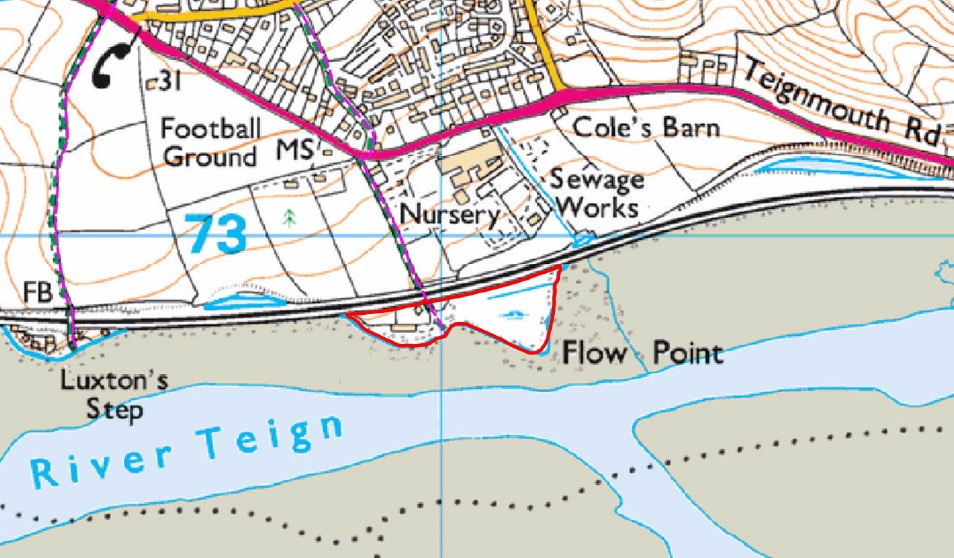 image showing map of the Teign Estuary and land at Flow Point